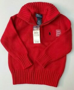 Boy's Polo Ralph Lauren 1/4 Zip Pullover Sweater Red - Size 3T