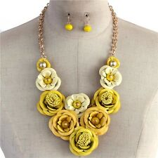 Multi Yellow Painted Metal Flower Floral Chunky Necklace Earring Set