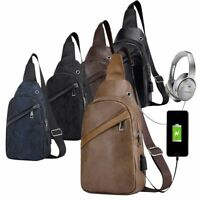 Men's Shoulder Bag Leather Sling Chest Pack Sport Crossbody Handbag USB Charging