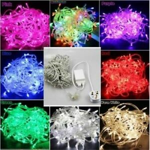 30-50M LED Mains Plug In String Fairy Lights 8 Function Garden Xmas Tree Outdoor