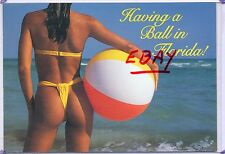 SEXY BEACH BUNNY REAR VIEW,YELLOW THONG BIKINI-HAVING A BALL IN FL,FLORIDA!
