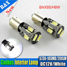 2x BAX9s 64132 H6W 10 SMD 5730 Canbus LED parking lamp Light Bulb White 200lm