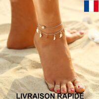Bracelet Cheville Feuille Doré Plage Mer Chaîne Bijou Femme  Cadeau Anniversaire