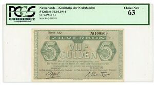 Netherlands ... P-63 ... 5 Gulden ... 16.10.1944 ... Choice UNC* PCGS 63.
