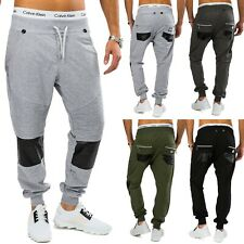 Men's sweatpants with suspenders Harem style leather patches leisure trousers