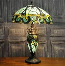 Tiffany Bedside Lamp Glass Handmade Shade Large Green Lampshade Metal Table Base