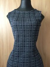 Worn once, Christian Dior navy & white patterned silk & cotton dress, UK size 8