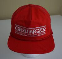 Vintage Grainger Red Mesh Trucker Snapback Hat Cap Made in USA