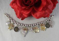 Sterling Silver 58g Grape Leaf Coin Charm  Bracelet  CAT RESCUE