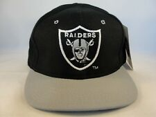 Oakland Raiders NFL Vintage Strapback Hat Defect Missing Top Button Black Gray