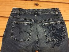 BCBGIRLS Womens Denim Size 4 Boot Cut Stretch Embroidered Pocket Jeans