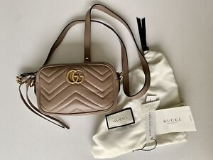 AUTHENTIC Gucci PORCELAIN PINK Marmont leather crossbody bag £640 MATCHES TAGS