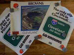 3 Cleveland Browns Football Posters Municipal Stadium SIGNS of LIFE