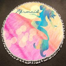 Round Beach Towel Viscose Fringe Edge Mermaid Bubbles Beach Blanket PINK BLUE