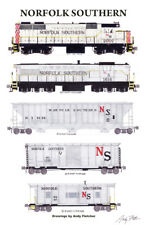 """Norfolk Southern Gray Freight Train 11""""x17"""" Poster by Andy Fletcher signed"""