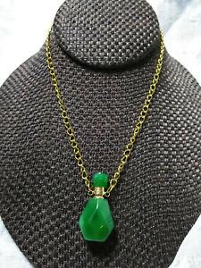 Green Quartz Essential Oil Perfume Bottle Pendant Necklace Stone Crystal C