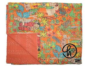 Queen/Twin Ethnic Kantha Style Quilts Cotton Handmade Bedspread Indian Blanket