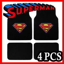4PC CARTOON SUPERMAN CLASSIC CARPET CAR FLOOR MATS /  YELLOW RED SHIEL