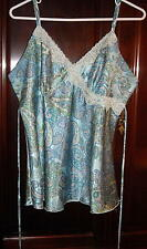 Fashion Bug Blue Paisley Lace Trimmed Camisole with Ties Size XL Free Shipping