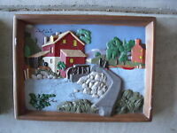 Vintage Holland Mold Grist Mill Diorama Ceramic Wall Hanging LOOK