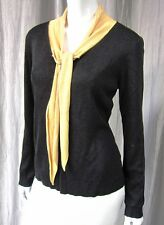 SAINT TROPEZ WEST A CAROLE LITTLE COMPANY LONG SLEEVE SWEATER M BLACK YELLOW