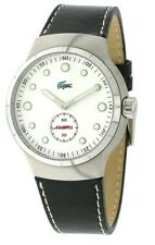 New Authentic LACOSTE Watch Tie Break Black Leather White Dial