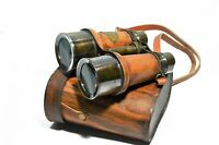 Antique Captain Solid Brass Nautical Opera Glasses Binoculars With Leather Case