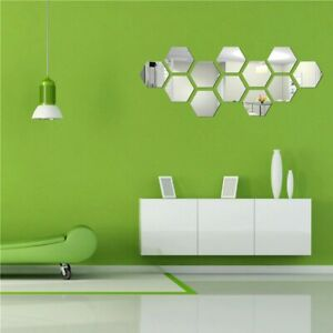 12Pcs 3D Hexagon Acrylic Mirror Wall Stickers Removable  Home Room DIY Art