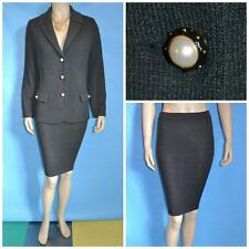 ST JOHN COLLECTION KNIT Gray JACKET SKIRT M L 10 12 2PC Suit Buttons Collared