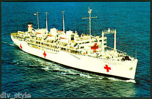 USS Repose AH-16 postcard US Navy Hospital Ship 50% to Doctors Without Borders