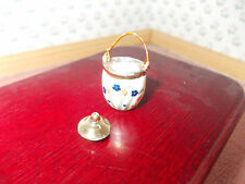 WHITE AND FLOWER   BISCUIT BARREL WITH BISCUITS FOR A DOLLS HOUSE