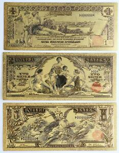 Educational Gold Foil 3-Note Set $1 $2 $5 Silver Certificate 24k Plated US Lot