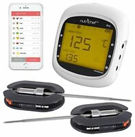 NutriChef Smart Bluetooth BBQ Grill Thermometer w/ Digital Display - Stainless