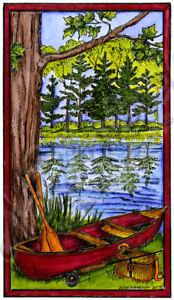 Canoe By Stream Fishing Scene Wood Mounted Rubber Stamp NORTHWOODS NN10255 New