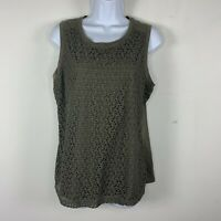 Van Heusen Womens Top Sz L Olive Green Sleeveless Casual  MO19