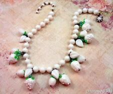"Vintage MIRIAM HASKELL White Milk Glass Cluster Necklace Strawberry Fruit 17""L"