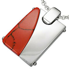 316L Steel 2-tone 2-sided Pendant w Red Turquoise