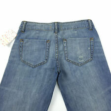 Women's Free People Dusted Blue Flare Jeans Distressed Hippie Jeans Size 24 NWT