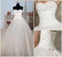 New White/Ivory Wedding Bridal Dress Prom Ball Gown Stock Size 6-8-10-12-16-18