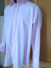 Fratello men french cuff pink button Pleats shirt cotton blend 15 1/2 33-34