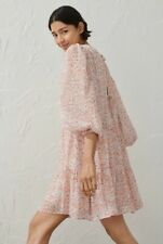 H&M Conscious BNWT Chiffon Wide Powder Pink Floral Dress Size S Sold Out