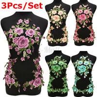 1 Set 3D Flower Embroidery Lace Applique Patches Cord Scrapbooking Motif