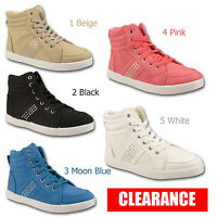 Ladies Womens Hi High Top Trainers Diamante Girls Ankle Boots Shoes Sizes 3-8