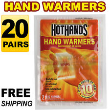 20 Pairs (40pcs) HotHands Hand Warmers Safe Natural Odorless Heat Free Shipping