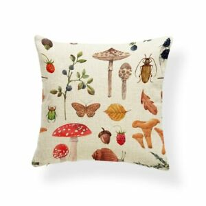 Toadstool Cushion Cover, insect cushion, cotton canvas, British woodland, beetle