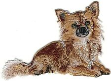 """2"""" x 3 3/8"""" Sitting Prone Chihuahua Dog Breed Embroidery Patch"""