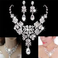 Fashion Rhinestone Necklace Earrings New Set Crystal Women Wedding Jewelry FT