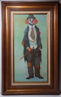 Fantastic Signed Original Painting - Sweet Creepy Smoking Clown - Vintage