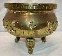Antique Large Bronze Dragon Footed Planter