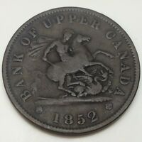 1852 Bank Upper Canada One 1 Penny Circulated Canadian Token Die Rotation D855